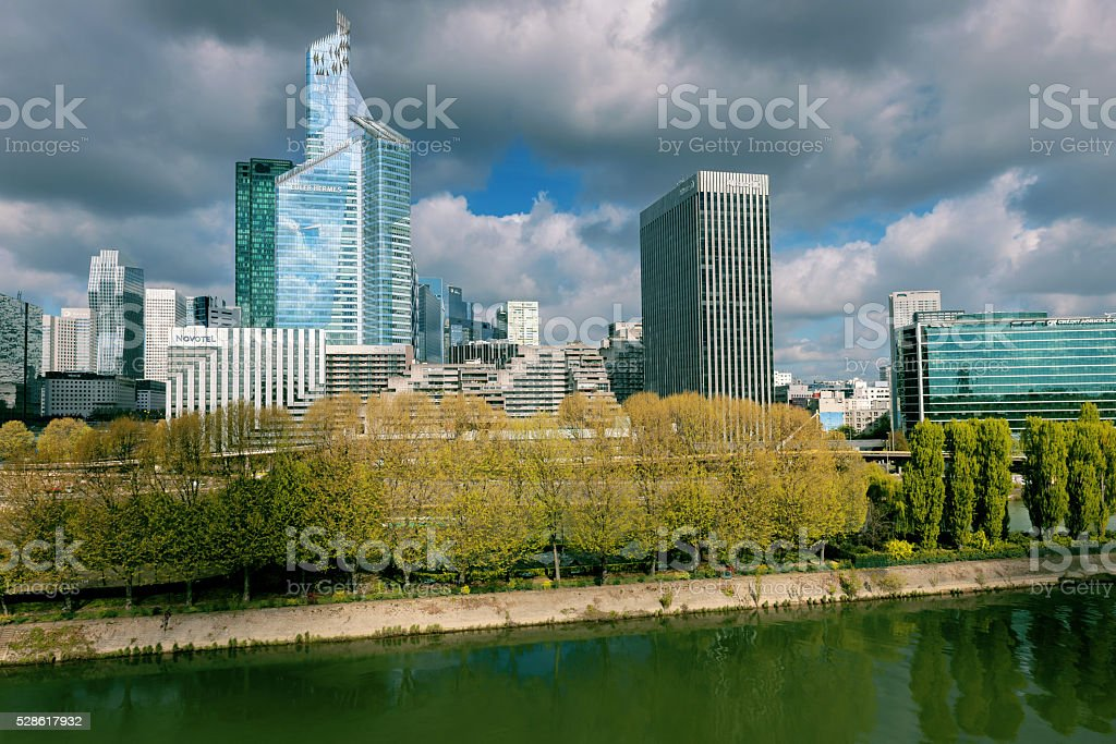 La Defense business area  in Paris,Seine River, France stock photo