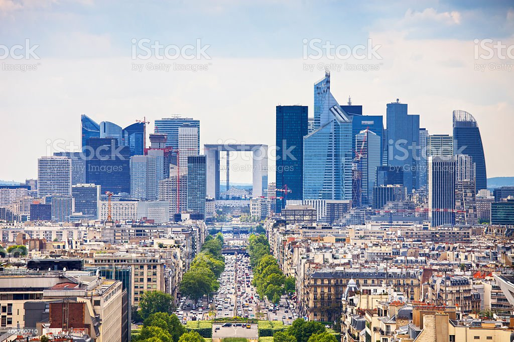 La Defense business area on Grande Armee in Paris, France stock photo