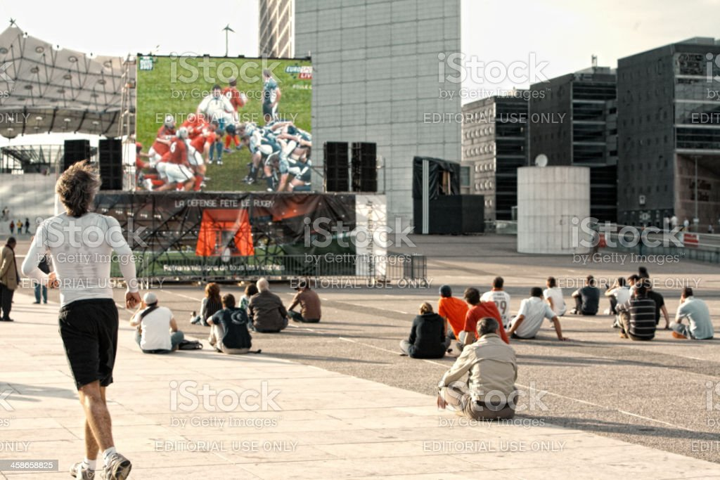 La Defense durining 2007 Rugby World Cup, France stock photo