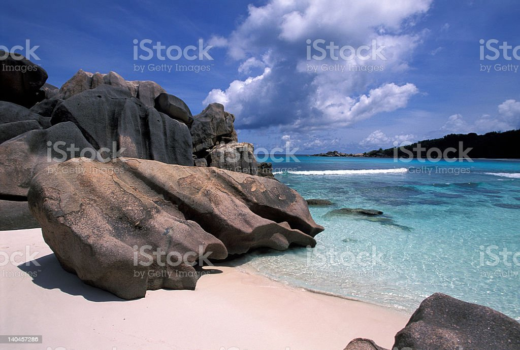 La Digue Anse Cocos royalty-free stock photo