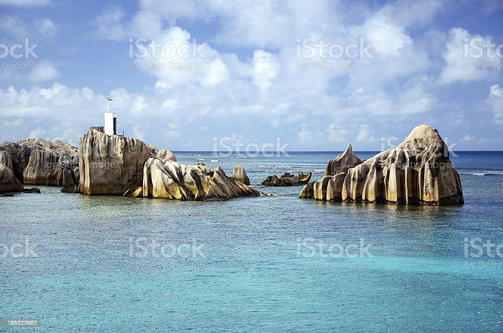 La Digue Island Lighthouse royalty-free stock photo