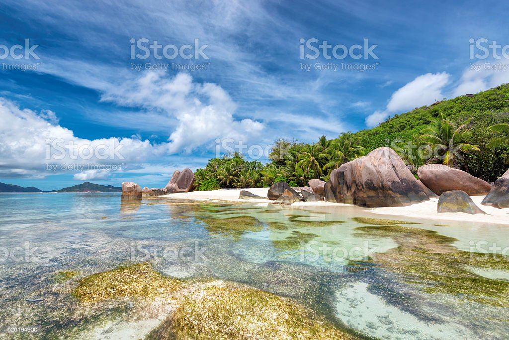 La Digue island, Paradise beach of Seychelles, Anse Source d'Argent, stock photo