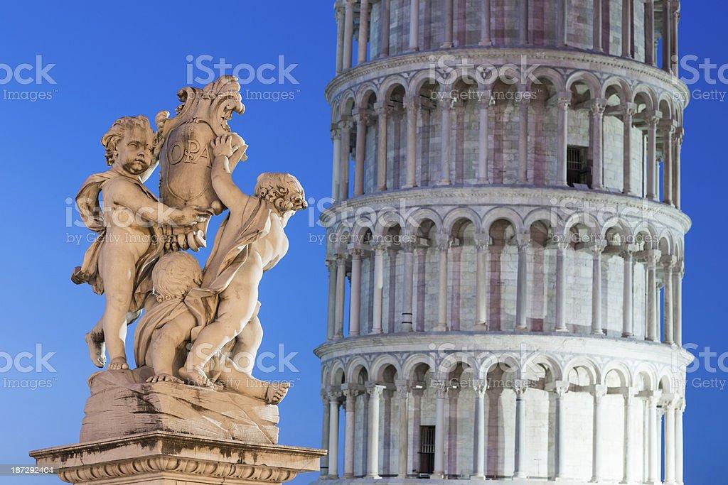 La fontana dei putti in Pisa at dusk, Tuscany Italy stock photo