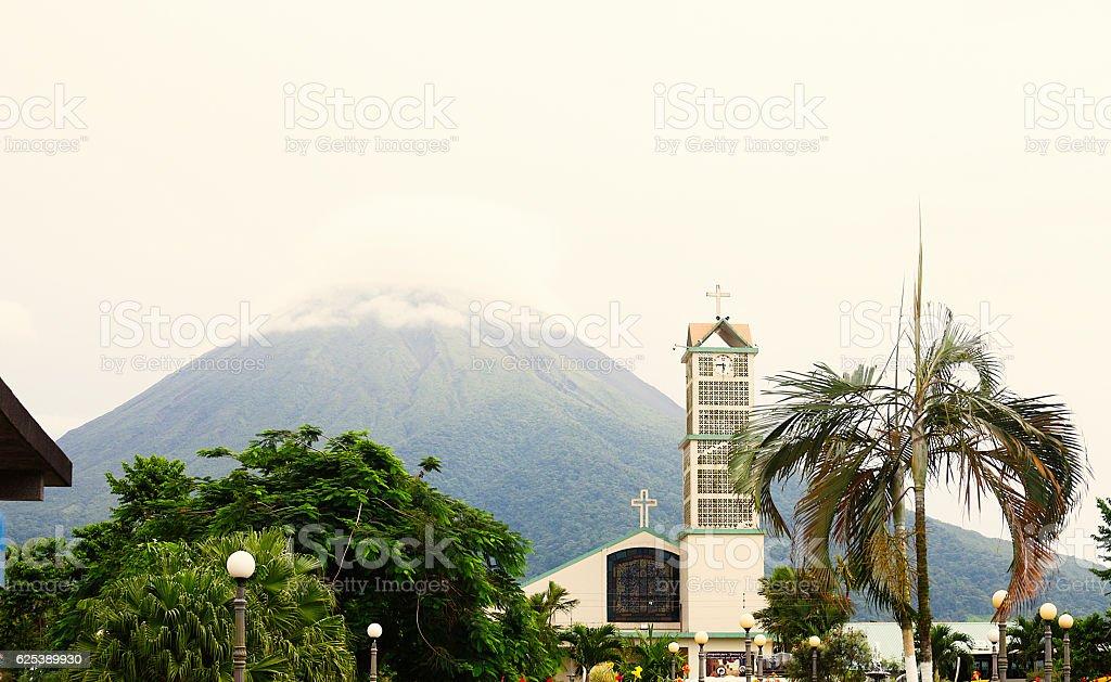 La Fortuna and Arenal Volcano stock photo