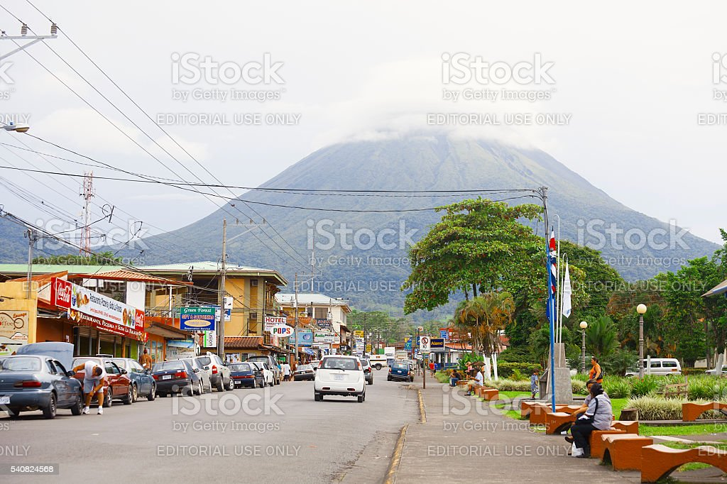 La Fortuna street view with Arenal Volcano stock photo