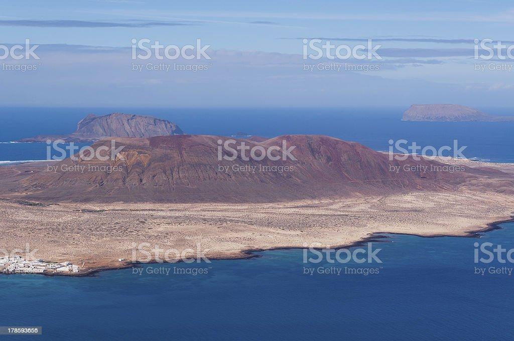 La Gaciosa view from Lanzarote stock photo