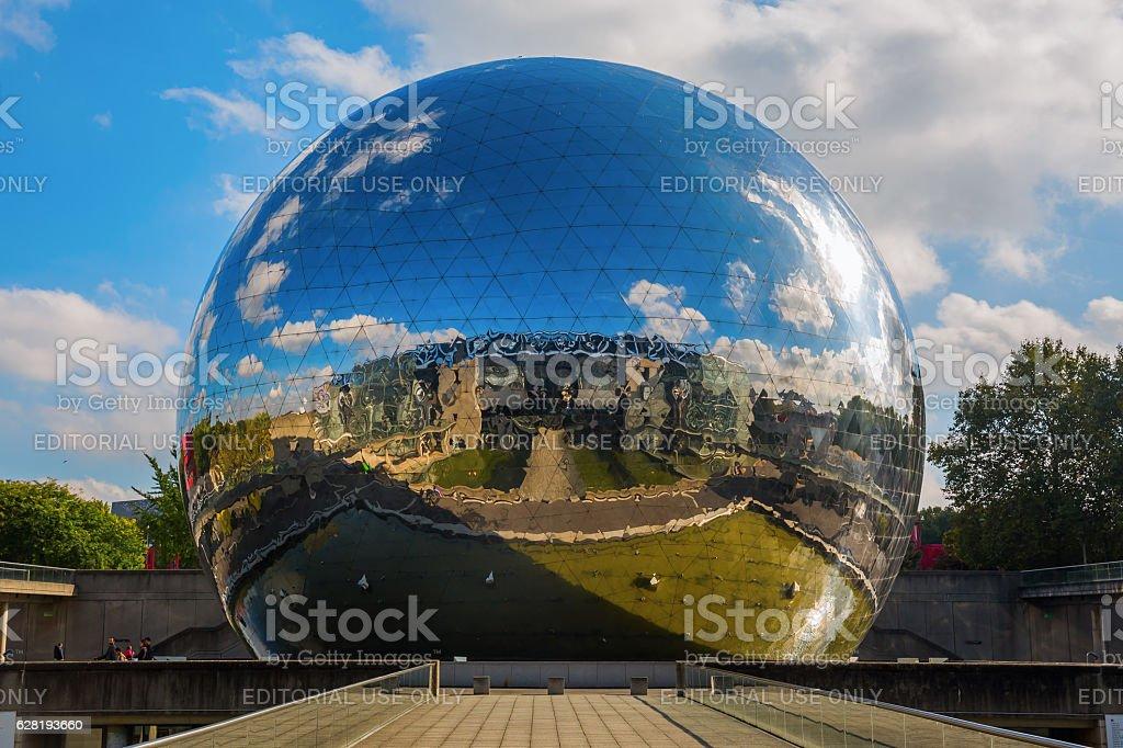 La Geode in the Parc de la Villette in Paris stock photo