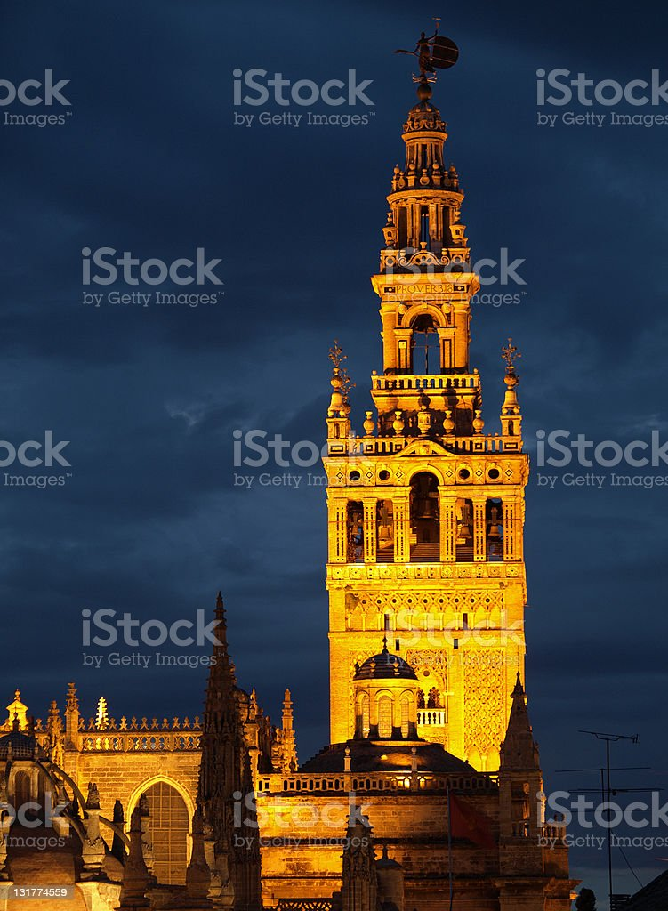 La  Giralda at night, Seville royalty-free stock photo