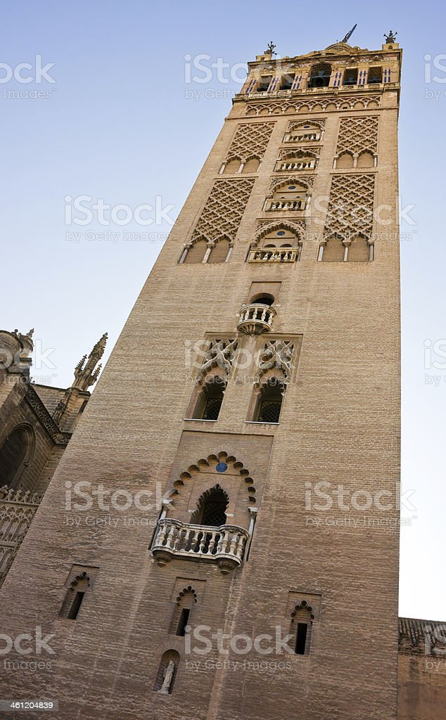 La Giralda Bell Tower of Seville Cathedral, Andalusia, Spain royalty-free stock photo