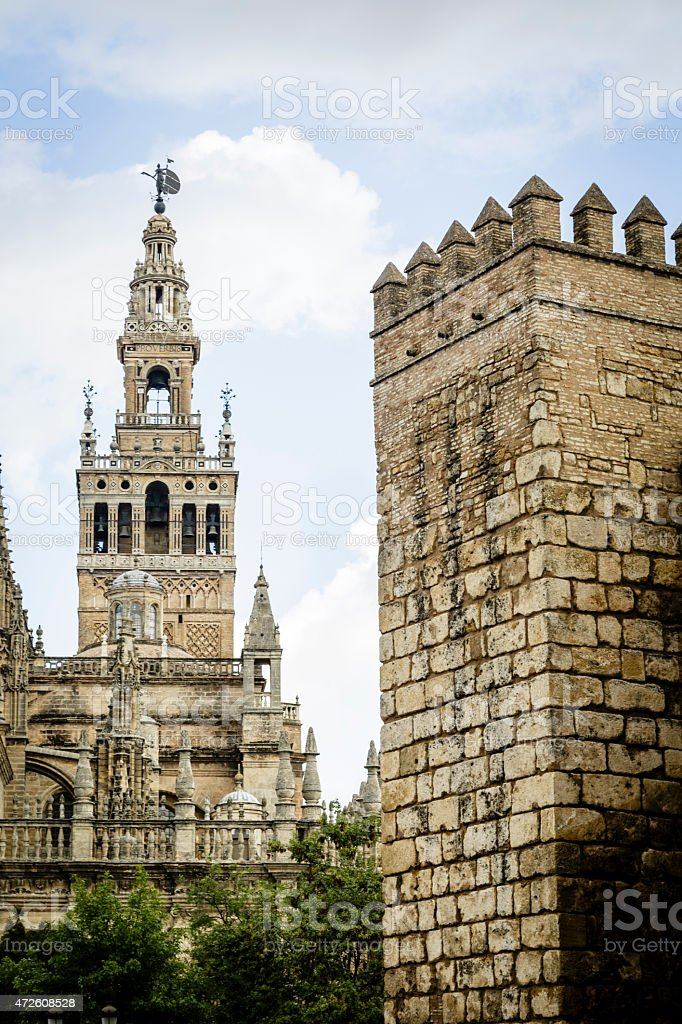 La Giralda from the real Alcazar stock photo