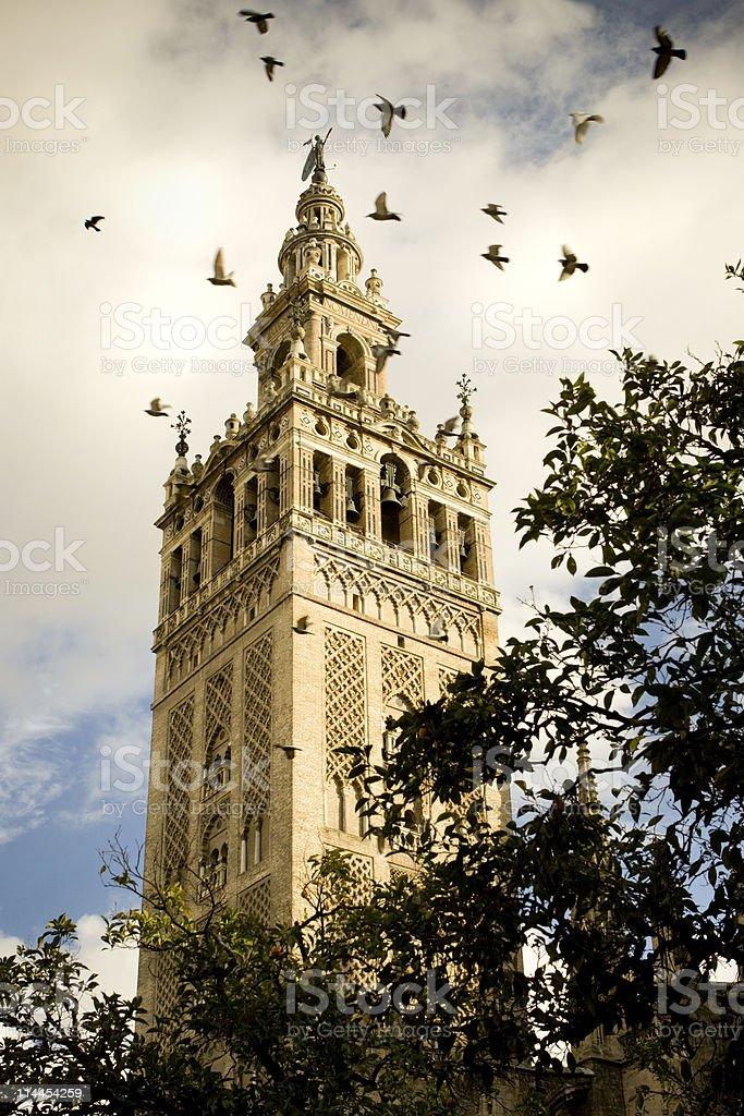 La Giralda with Birds royalty-free stock photo
