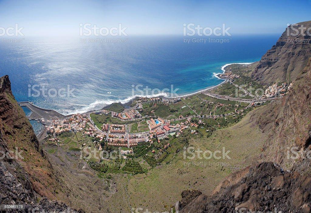 La Gomera - Aerial view of Valle Gran Rey stock photo