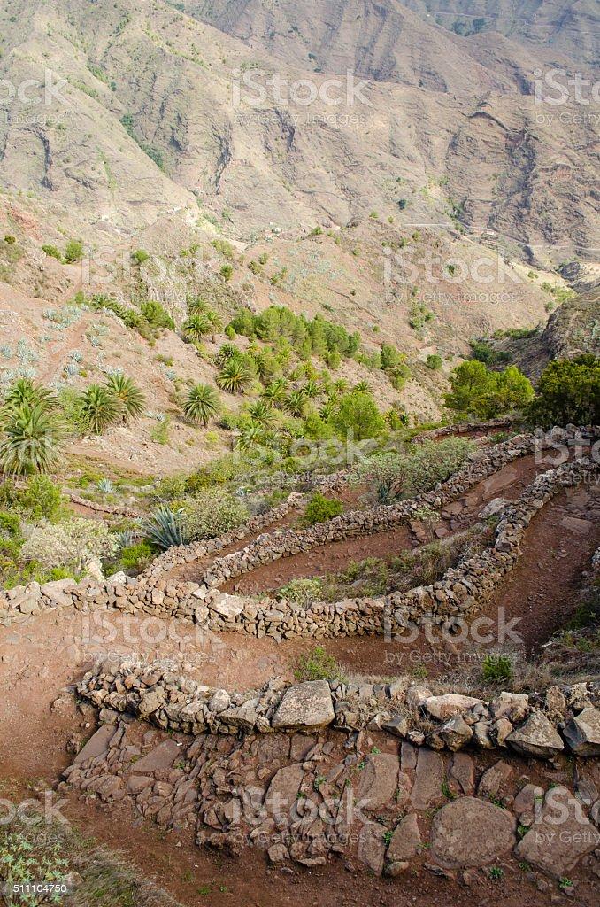 La Gomera, Canary Islands, path from Degollada de Peraza. stock photo