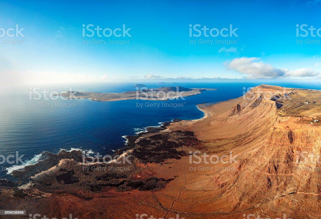 La Graciosa island panorama, Lanzarote, Canary islands stock photo