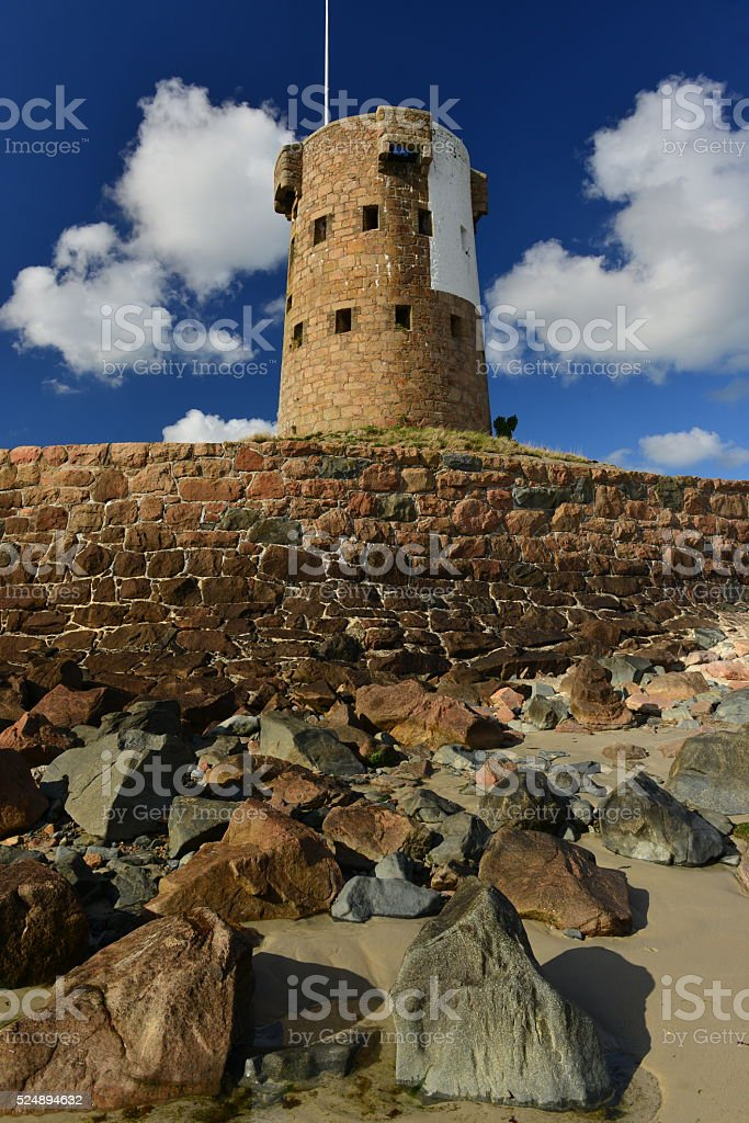 La Hocq tower, Jersey, U.K. stock photo