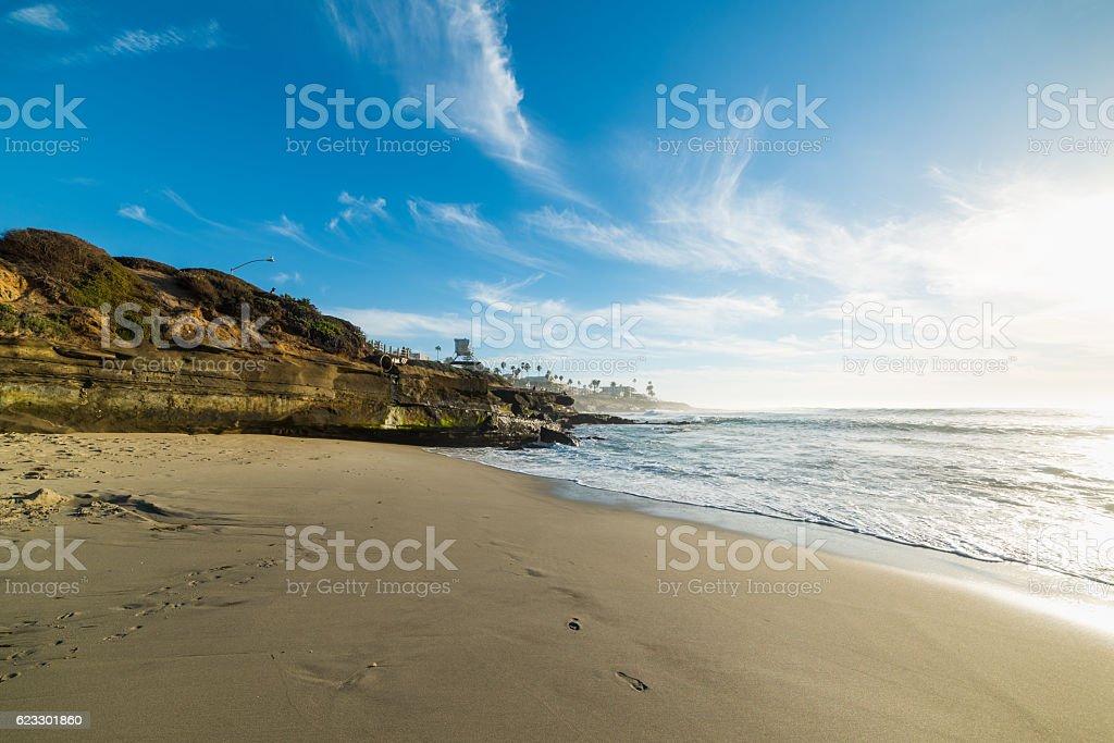 La Jolla beach at sunset stock photo