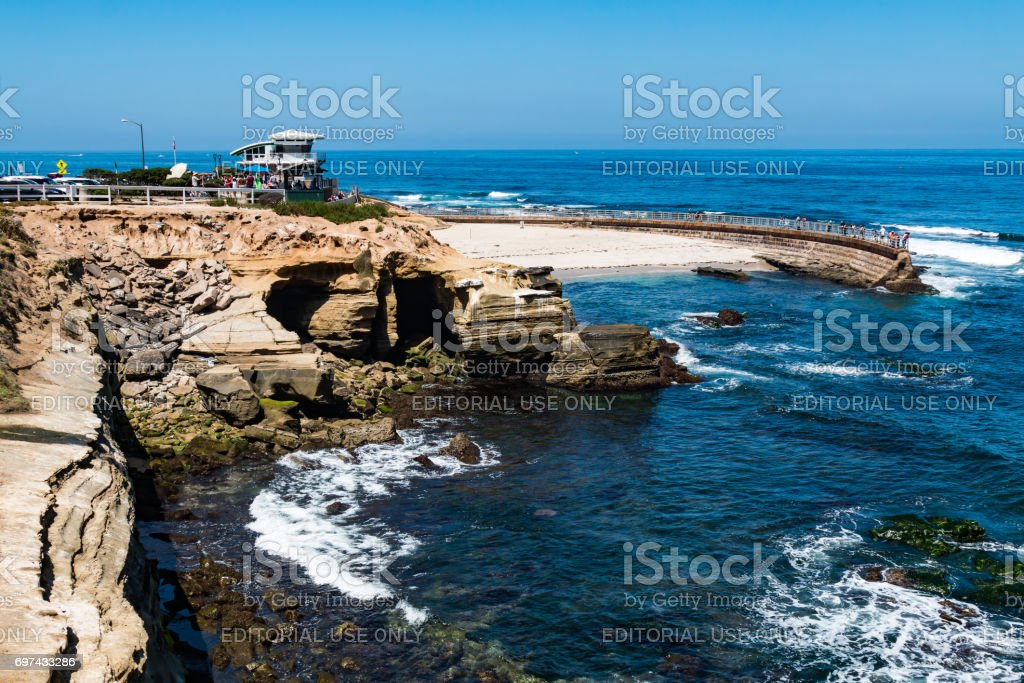 La Jolla Children's Pool with Eroded Cliffs stock photo