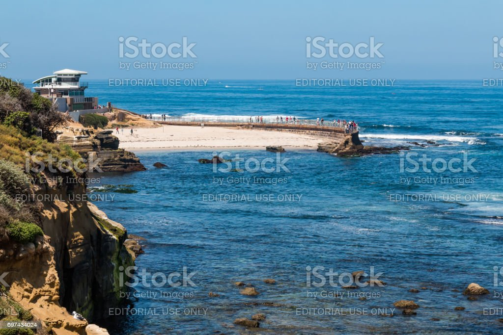 La Jolla Children's Pool with New Lifeguard Tower stock photo