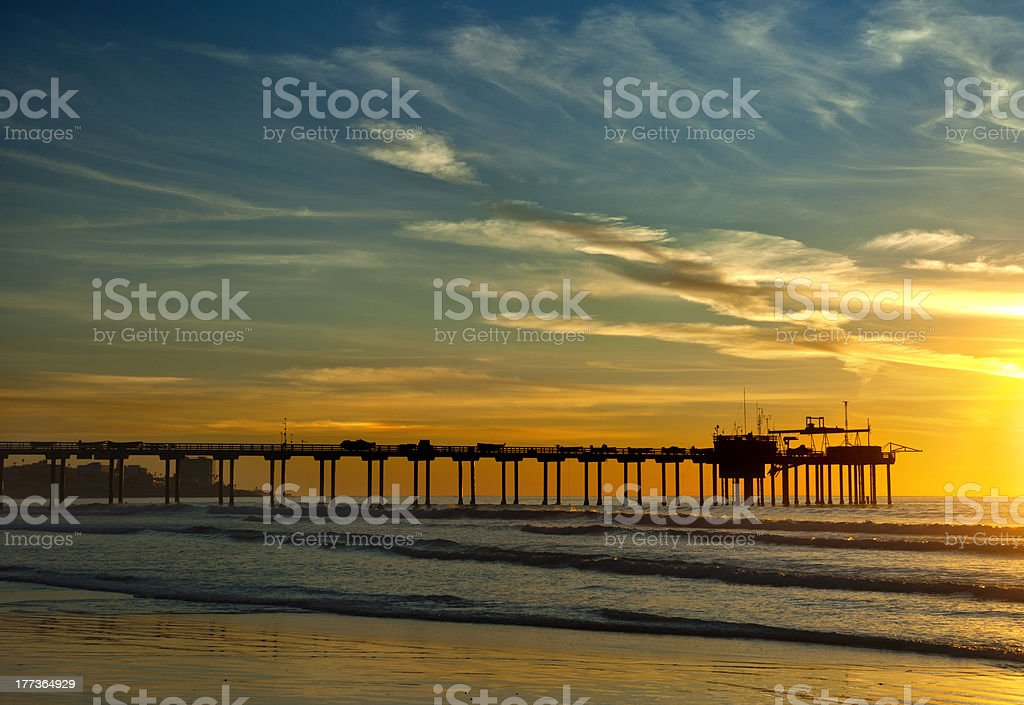 La Jolla Scripps Pier At Sunset stock photo