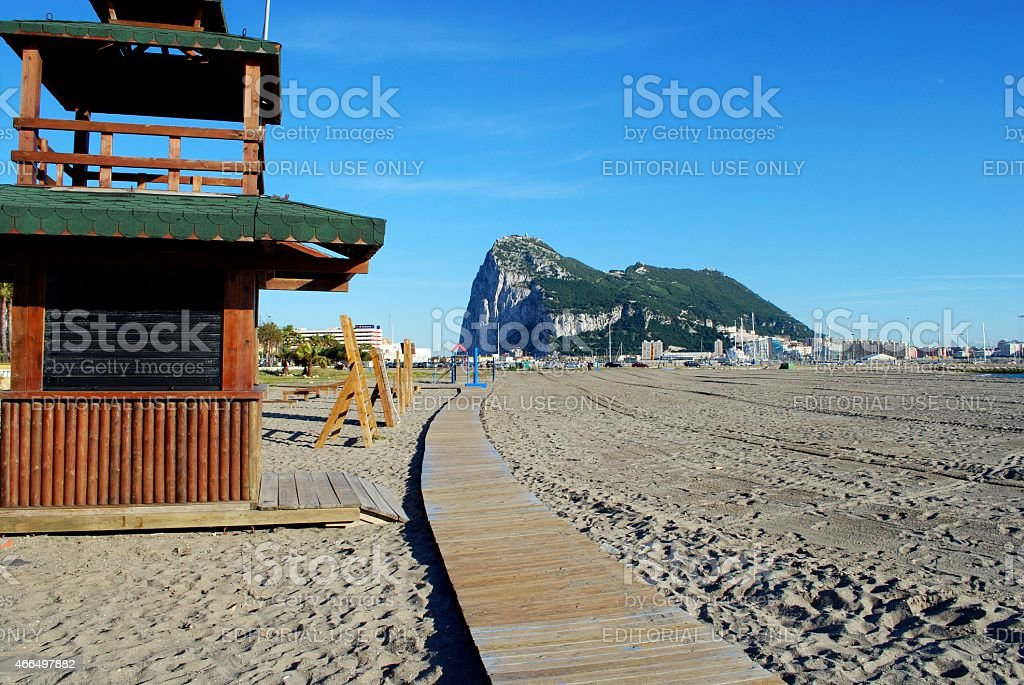 La Linea beach and the Rock of Gibraltar. stock photo