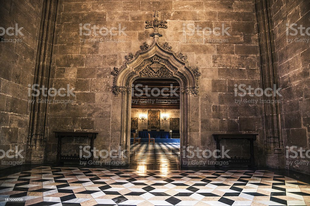 La Lonja of Valencia - Entrance hall stock photo