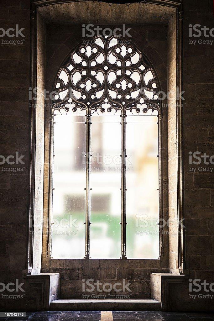 La Lonja of Valencia - Window detail stock photo