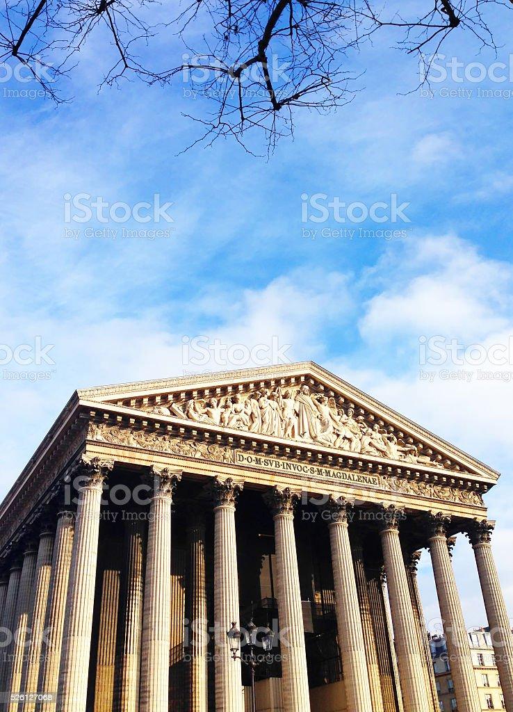 La Madeleine church in Paris stock photo
