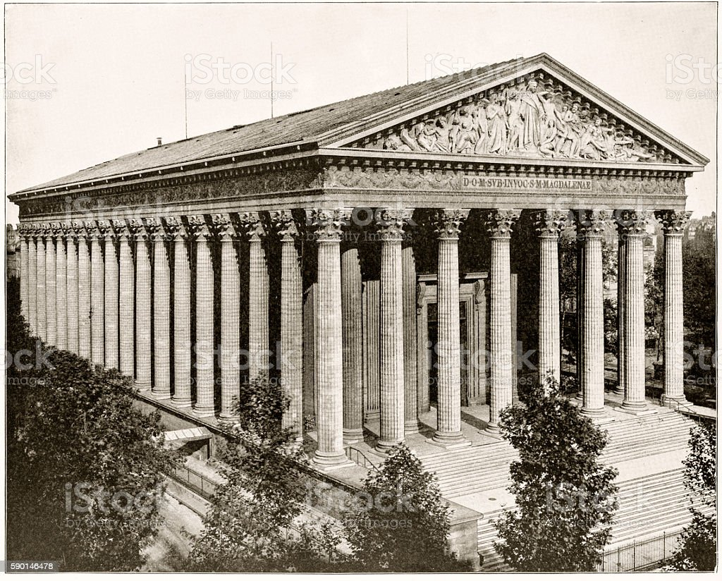 La Madeleine, Paris, France in 1880s stock photo
