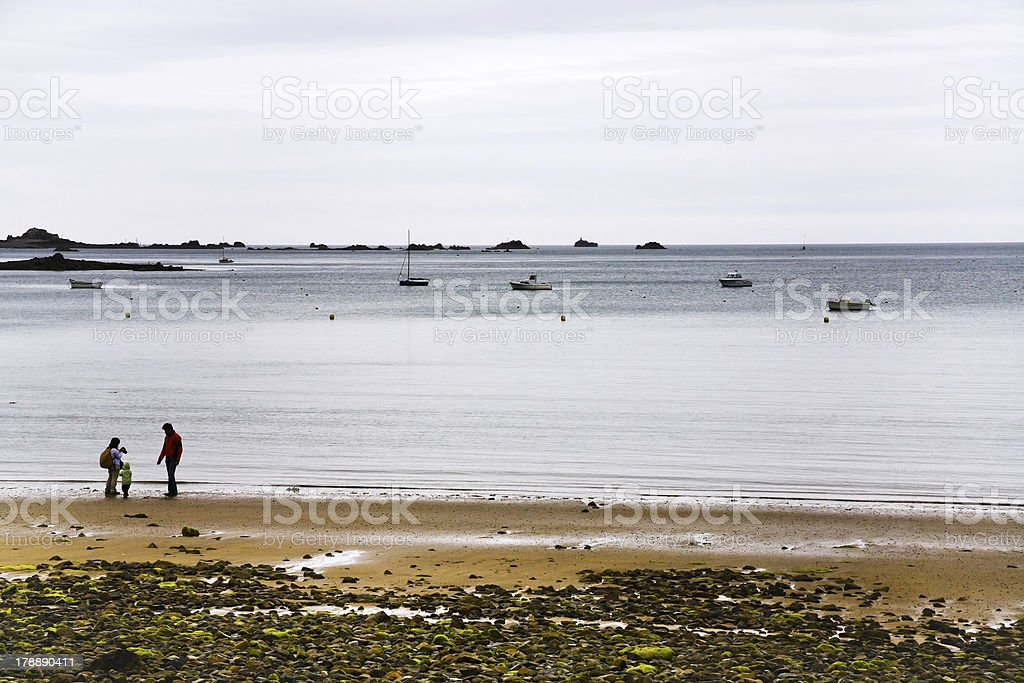 La manche coastline near Perros-Guirec, Brittany royalty-free stock photo