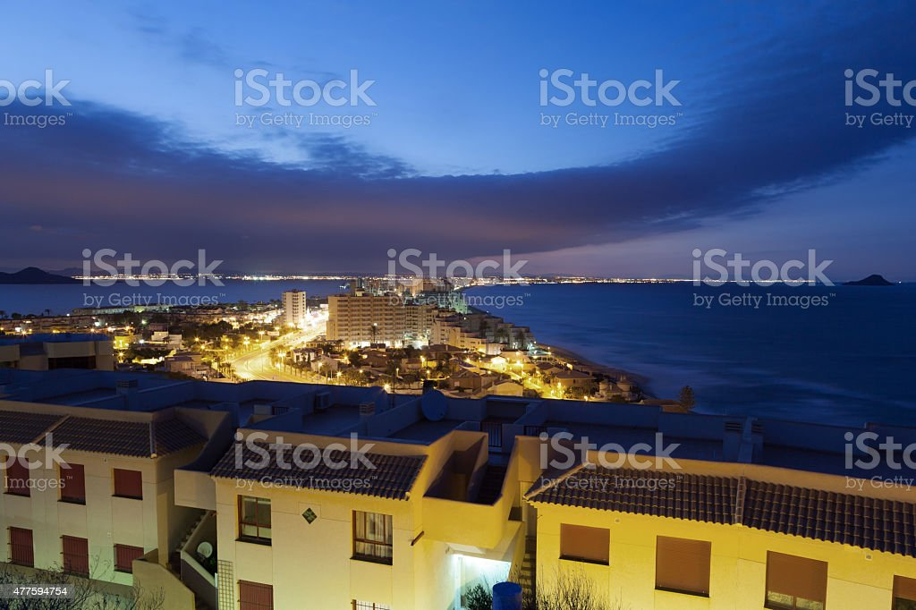 La Manga at night. Spain stock photo