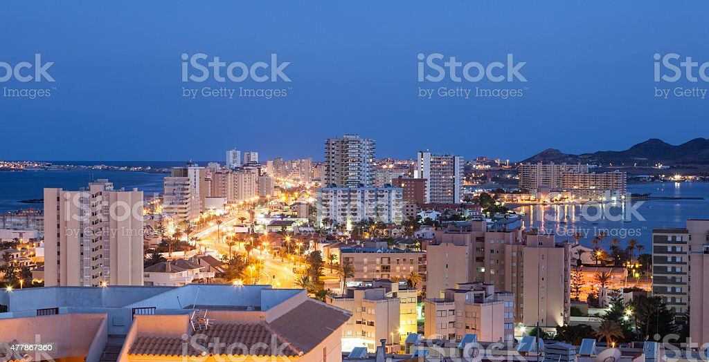 La Manga at night, Spain stock photo