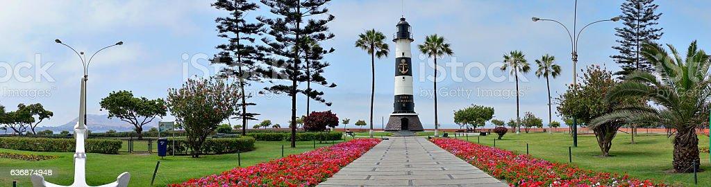 La Marina light house in Miraflores in Lima Peru stock photo