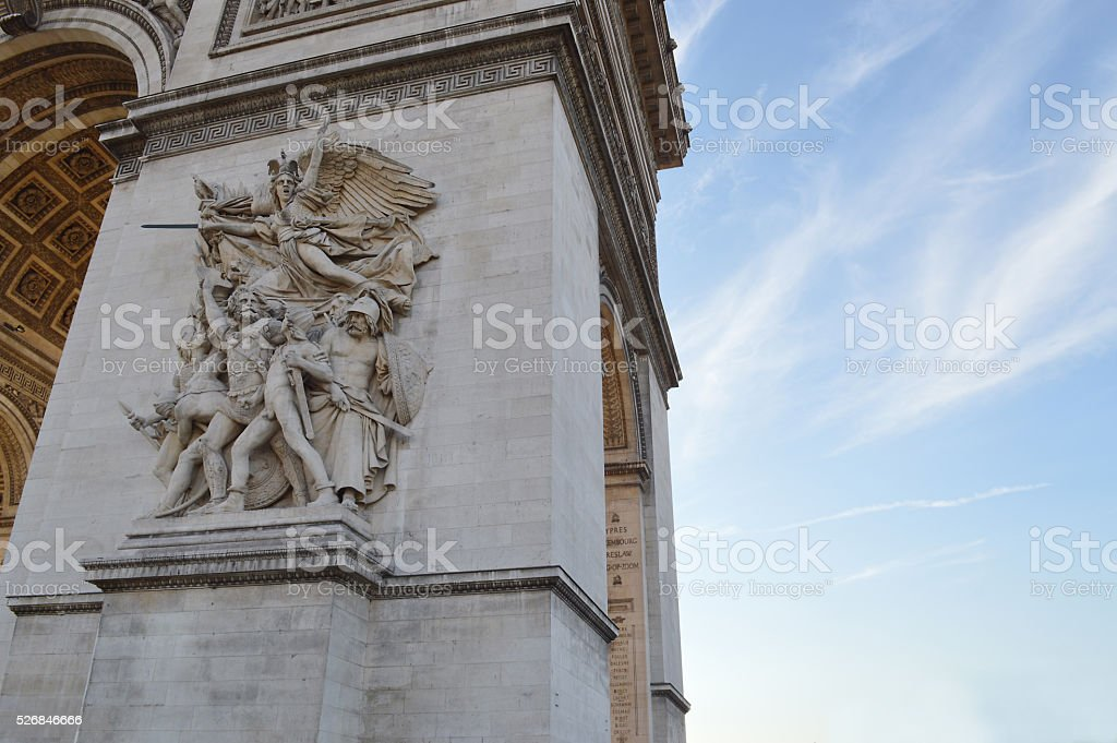 La Marseillaise Arc up close stock photo