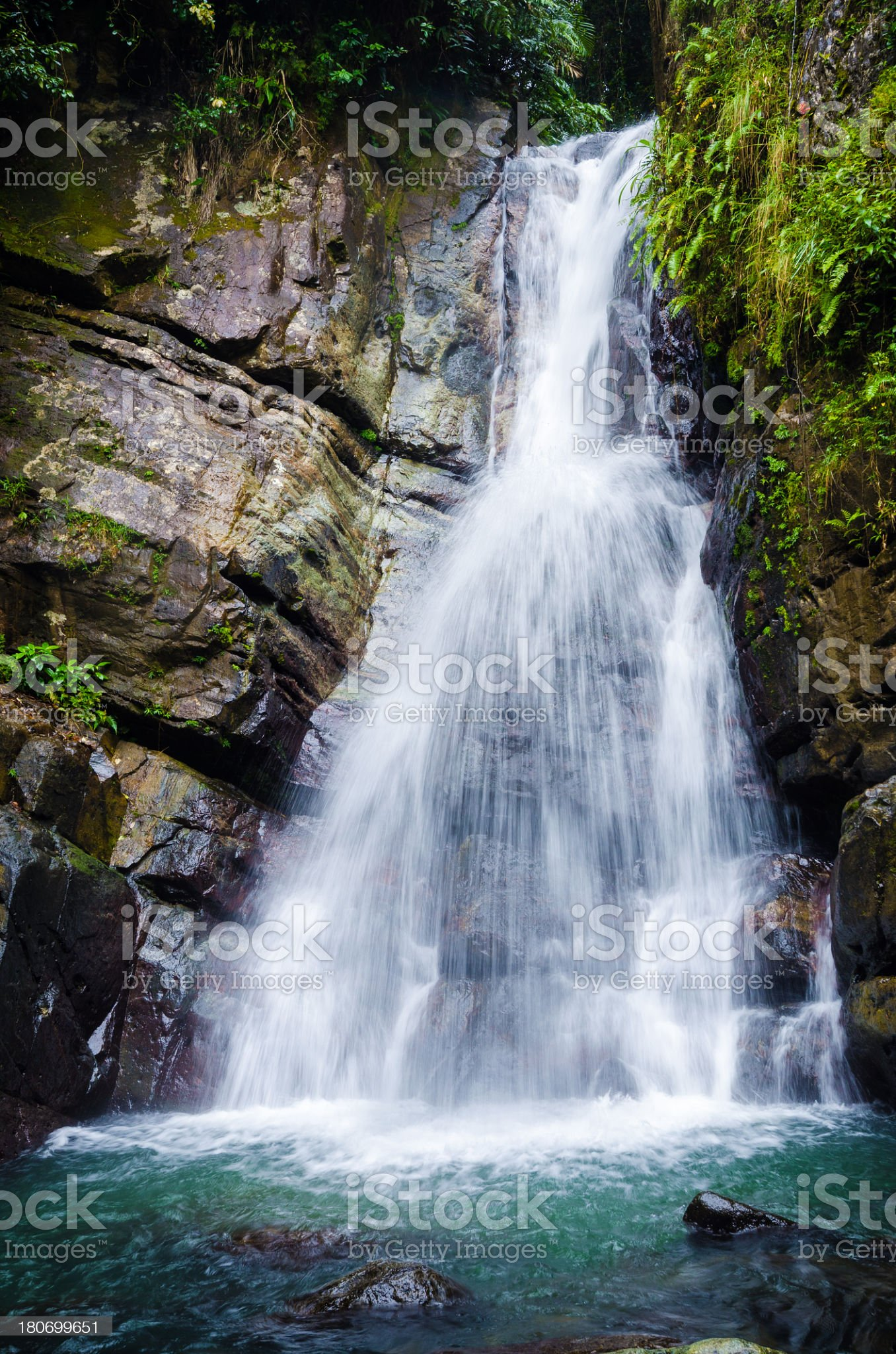 La Mina waterfall in El Yunque National Forest royalty-free stock photo