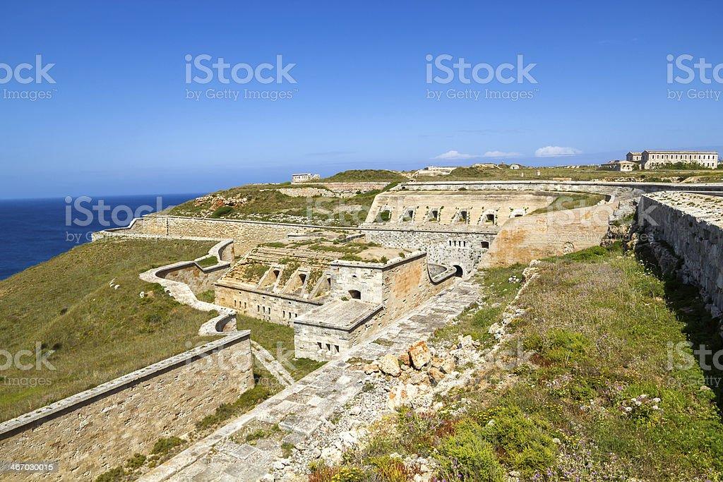 La Mola Fortress of Isabel II stock photo