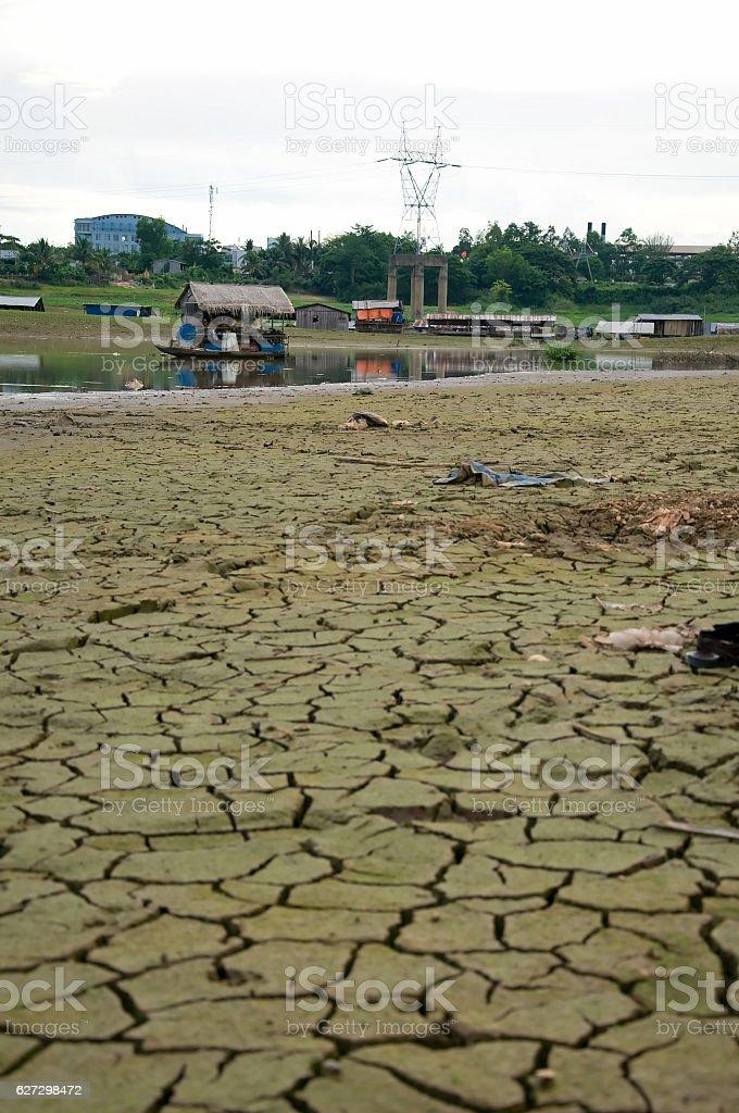 La Nga shifts floating village in Dongnai river, Vietnam stock photo