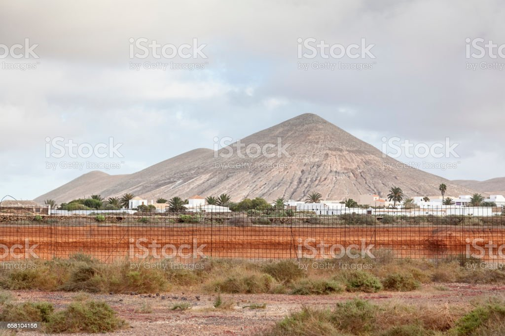 La Oliva and a volcanic Landscape stock photo
