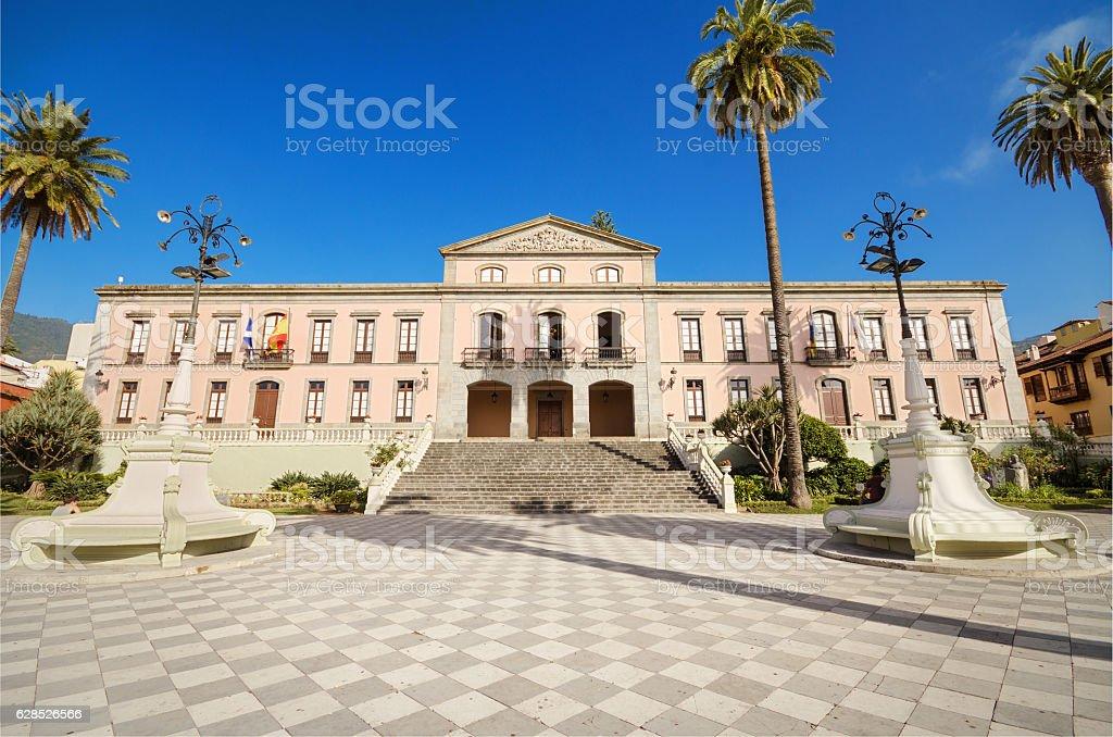 La Orotava, council building in Tenerife, Canary islands, Spain. stock photo