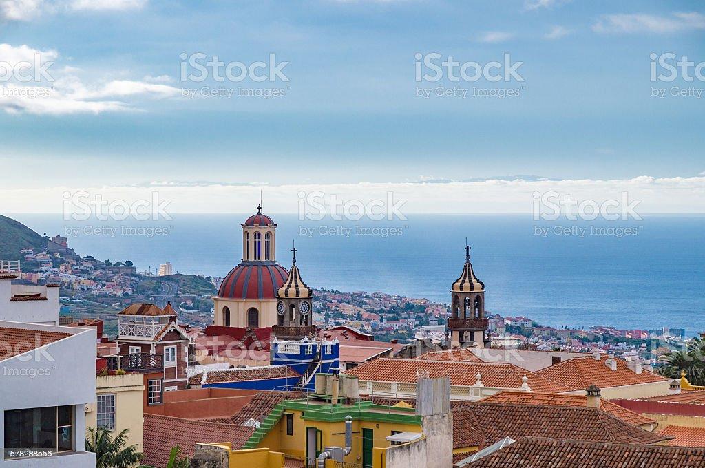 La Orotava town and historic churches, Tenerife stock photo
