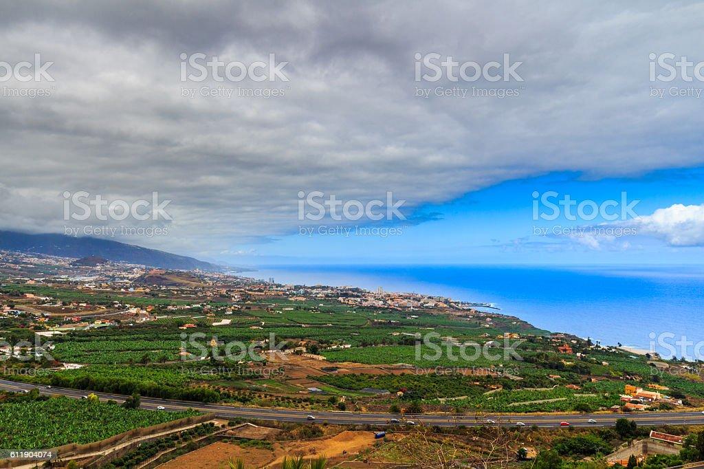 La Orotava Valley from Mirador de Humboltd, Tenerife, Canary Islands. stock photo