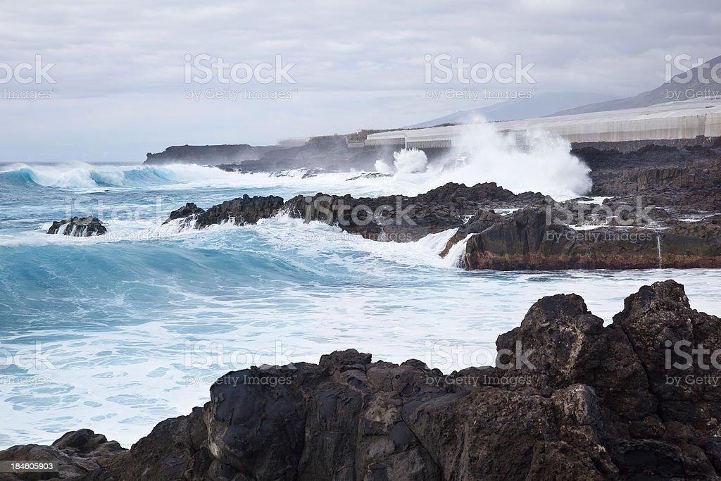 La Palma Coastline With Giant Waves stock photo