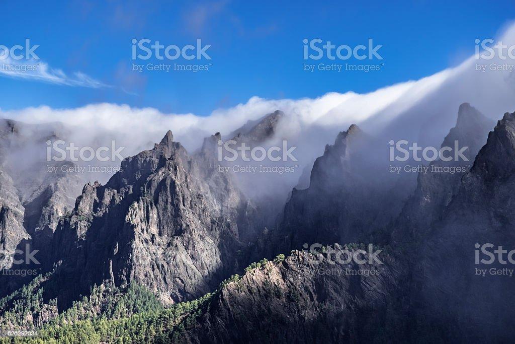 La palma cumbrecita mountains rolling clouds stock photo