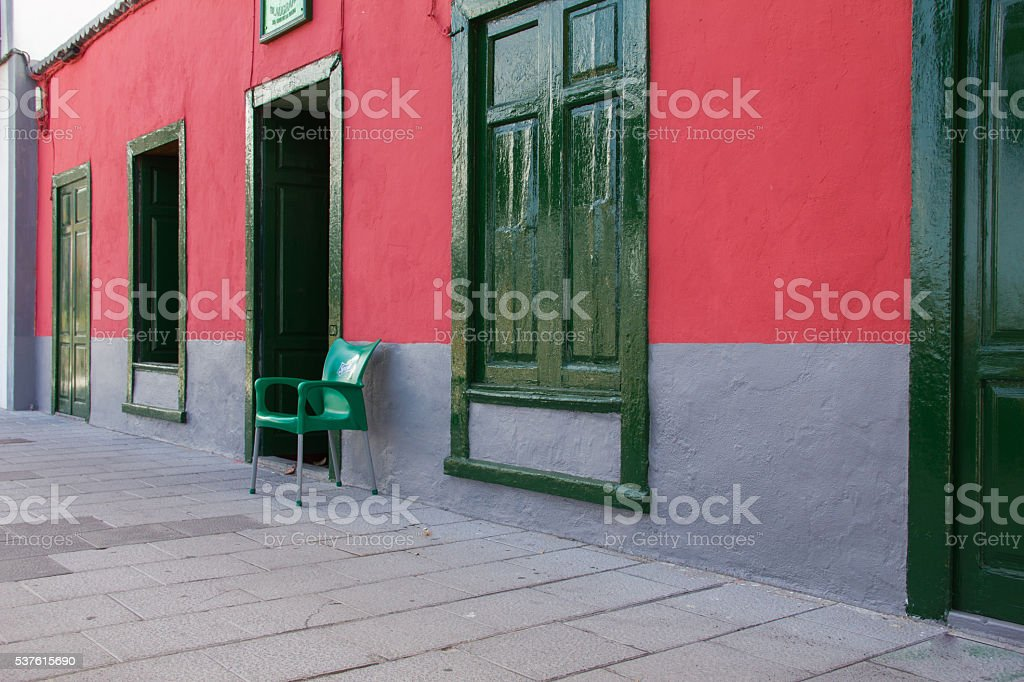 La Palma, Santa Cruz colonial street in canary Islands stock photo