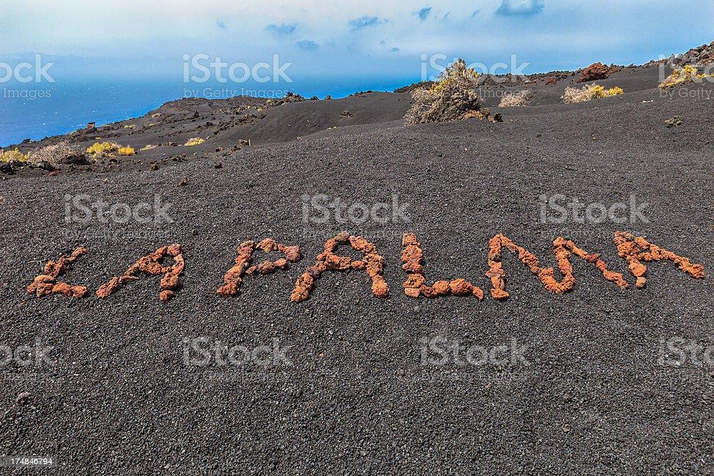 La Palma Written on Volcanic Soil stock photo