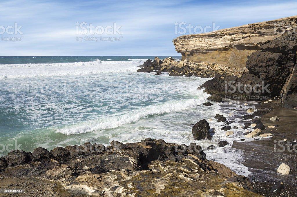 La Pared beach on Fuerteventura west coast stock photo