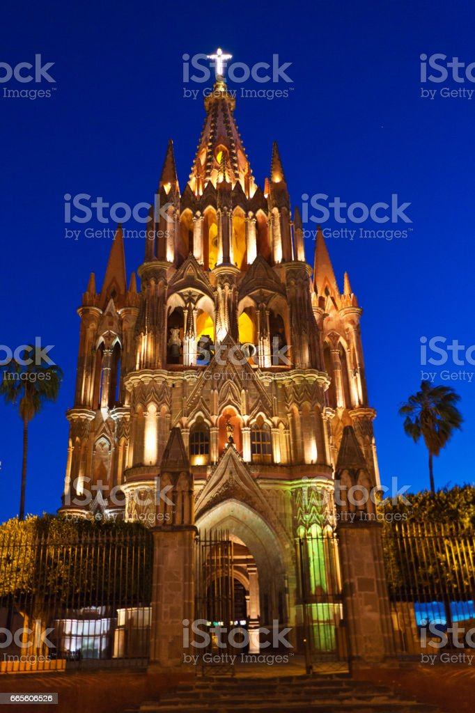 La Parroquia de San Miguel Arcangel Church, Mexico stock photo