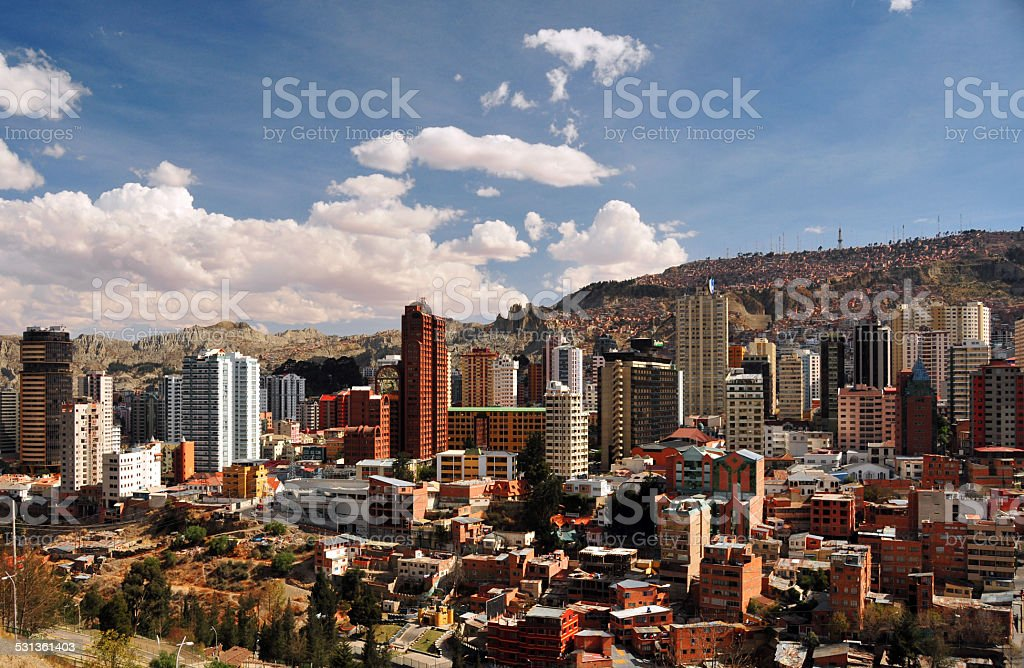 La Paz, Bolivia: hills and towers stock photo