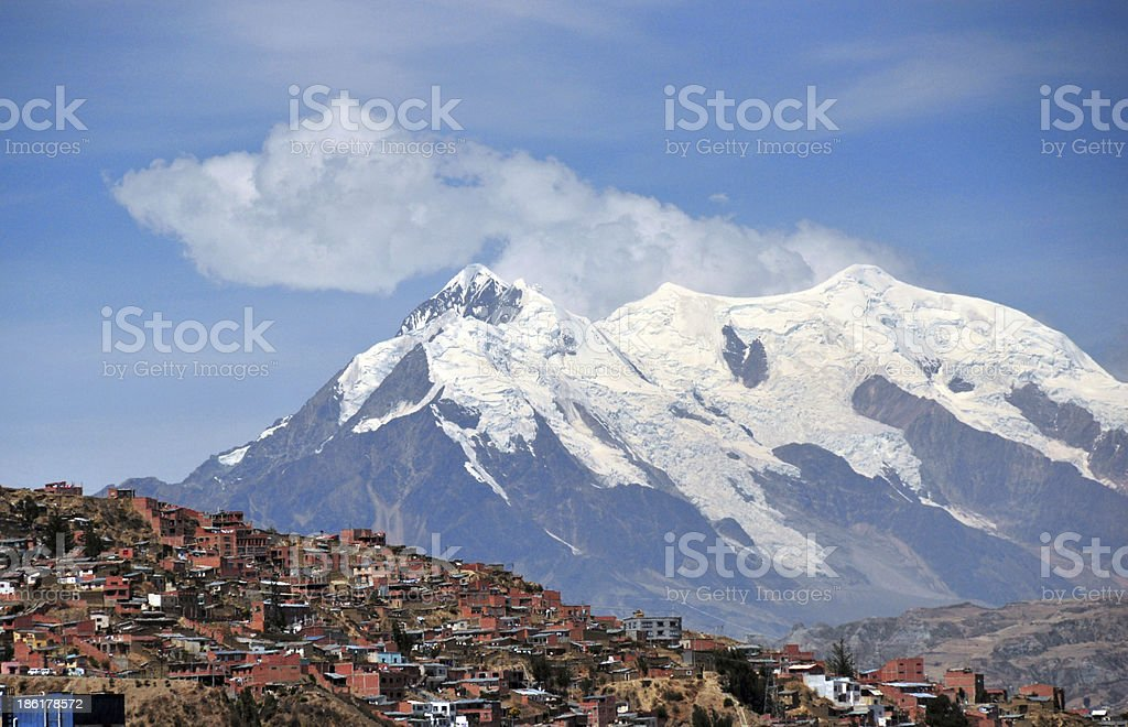 La Paz, Bolivia: Nevado Illimani peak stock photo