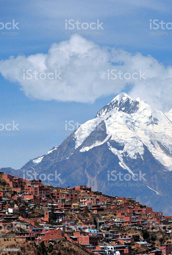 La Paz - houses and the Nevado Illimani mountain, Bolivia stock photo