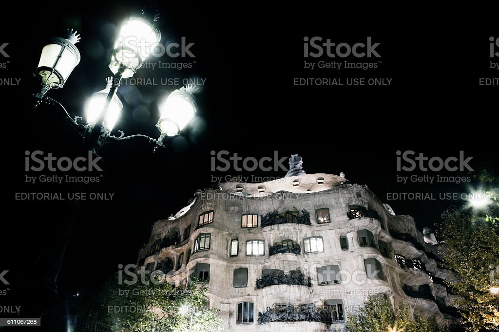 La Pedrera at night  by Gaudi Barcelona Spain stock photo